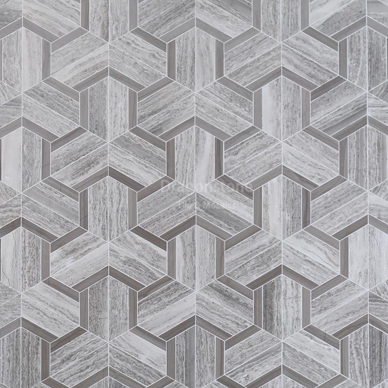 Dragonstone Crossed grey marble mosaic GWM-24