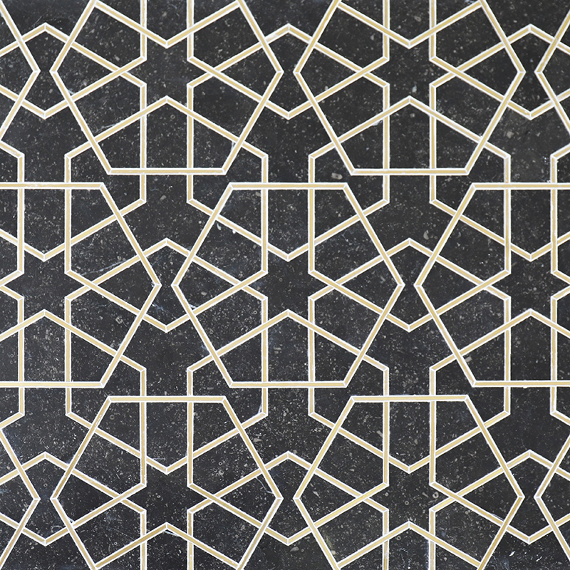 Belgian bluestone and brass home mosaic for wall and floor WM-96